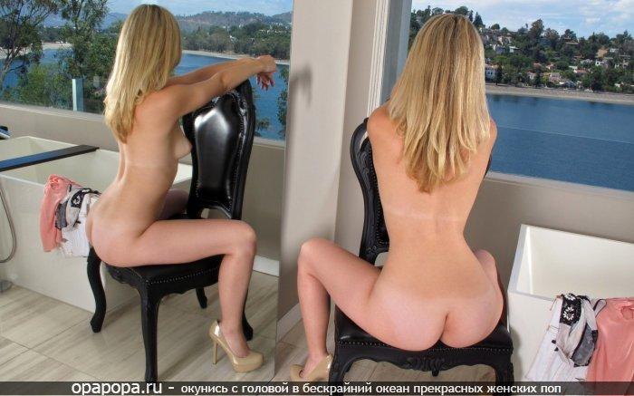 Блондиночка Офелия с зрелой эффектной попкой у зеркала