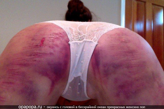 частное фото: брюнеточка Доминика с массивной отшлепанной задницей в трусиках