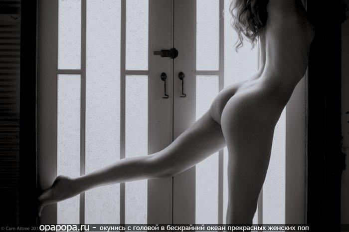 Черно-белое фото: девушка с маленькой спелой задницей у окна без трусов