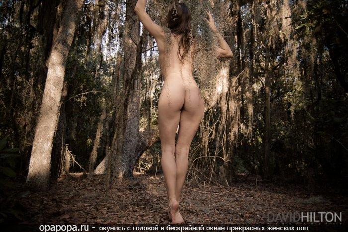 Фотография: русоволосой Амины с привлекательной миниатюрной попкой на природе без труселей