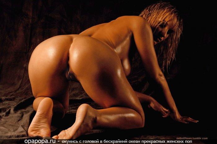 Фотография: русоволосой дикой девки с аппетитной задницей без трусиков в масле с красивой грудью